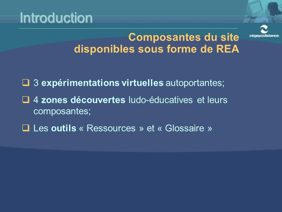  3 expérimentations virtuelles autoportantes;  4 zones découvertes ludo-éducatives et leurs composantes;  Les outils « Ressources » et « Glossaire » Introduction Composantes du site disponibles sous forme de REA