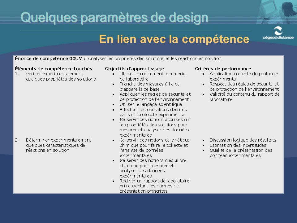 En lien avec la compétence Quelques paramètres de design