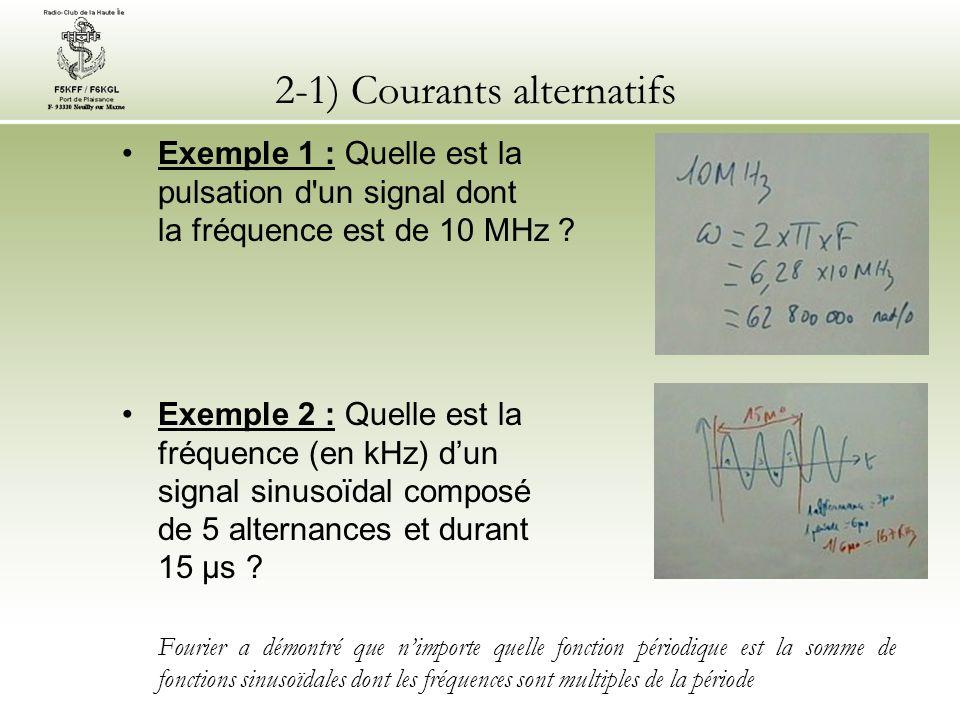 2-1) Courants alternatifs Exemple 1 : Quelle est la pulsation d'un signal dont la fréquence est de 10 MHz ? Exemple 2 : Quelle est la fréquence (en kH