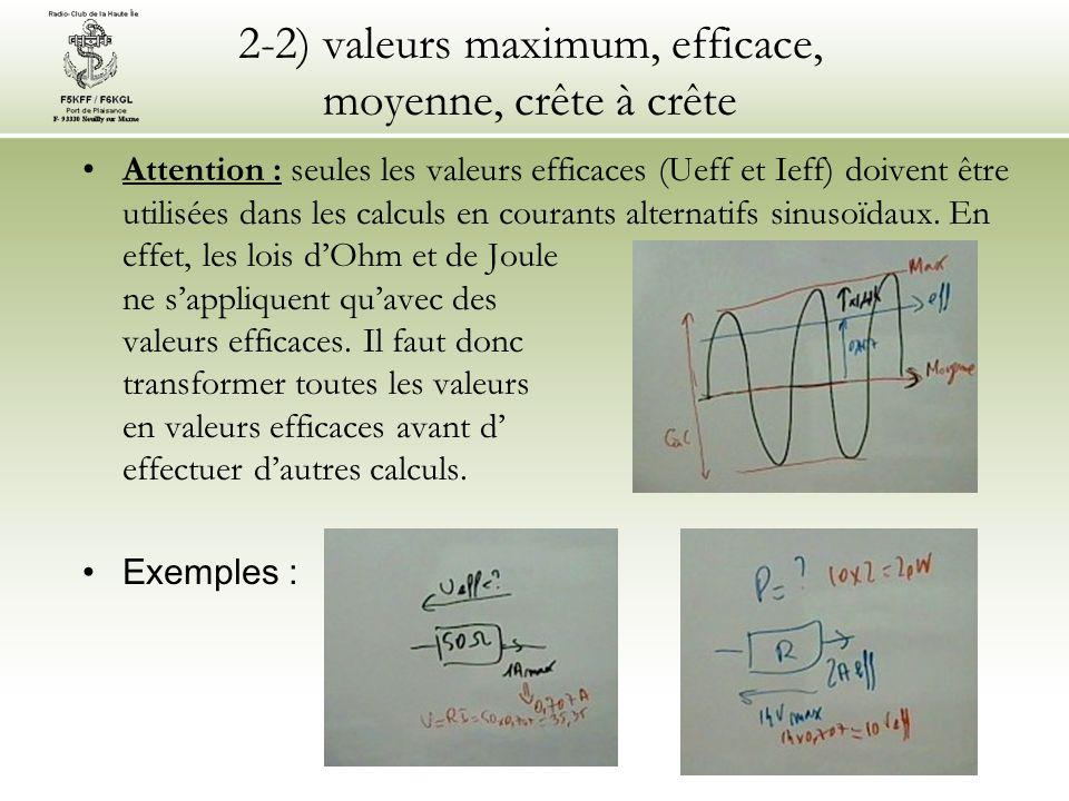 2-2) valeurs maximum, efficace, moyenne, crête à crête Attention : seules les valeurs efficaces (Ueff et Ieff) doivent être utilisées dans les calculs