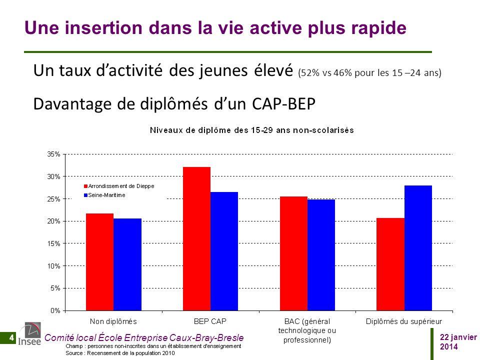 22 janvier 2014 Comité local École Entreprise Caux-Bray-Bresle 4 Une insertion dans la vie active plus rapide Un taux d'activité des jeunes élevé (52%