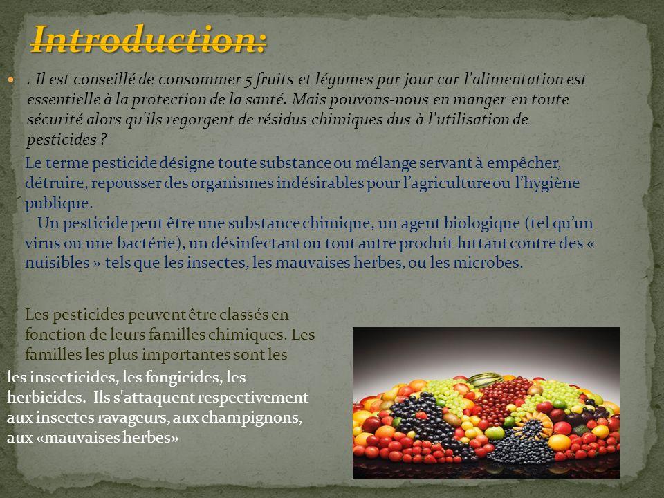 Les différents types de pesticides A/ Les insecticides 1)Les organochlorés Cette famille comprend un grand nombre de composés chimiques contenant du chlore et quelquefois d'autres éléments.