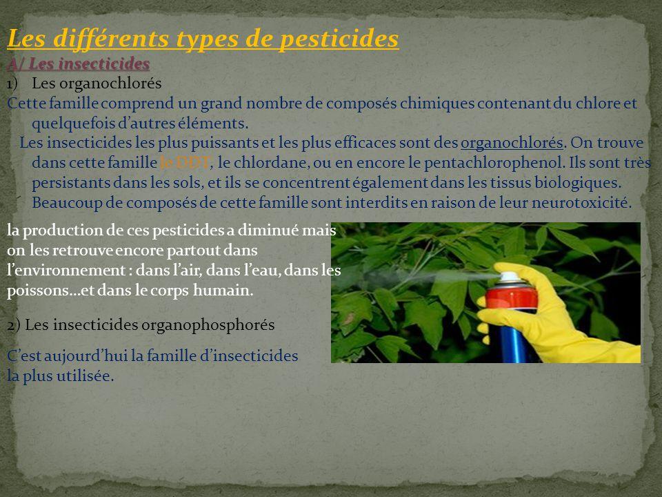 Les différents types de pesticides A/ Les insecticides 1)Les organochlorés Cette famille comprend un grand nombre de composés chimiques contenant du c