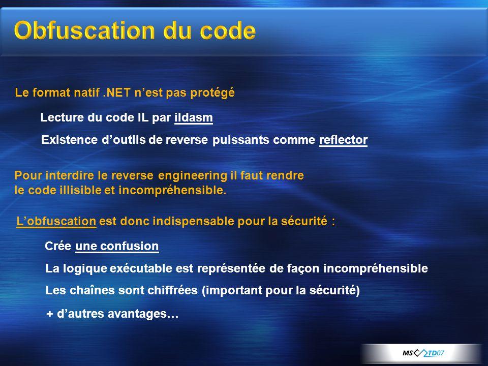 Le format natif.NET n'est pas protégé Pour interdire le reverse engineering il faut rendre le code illisible et incompréhensible.