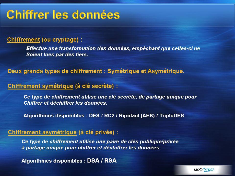 Chiffrement (ou cryptage) : Chiffrement symétrique (à clé secrète) : Ce type de chiffrement utilise une clé secrète, de partage unique pour Chiffrer et déchiffrer les données.