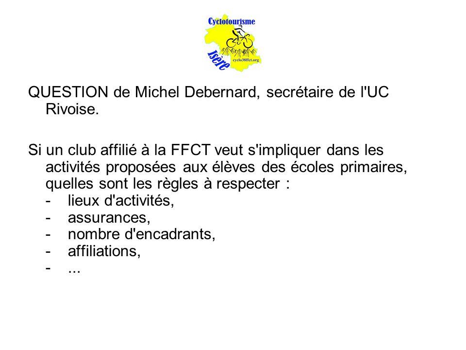 QUESTION de Michel Debernard, secrétaire de l'UC Rivoise. Si un club affilié à la FFCT veut s'impliquer dans les activités proposées aux élèves des éc