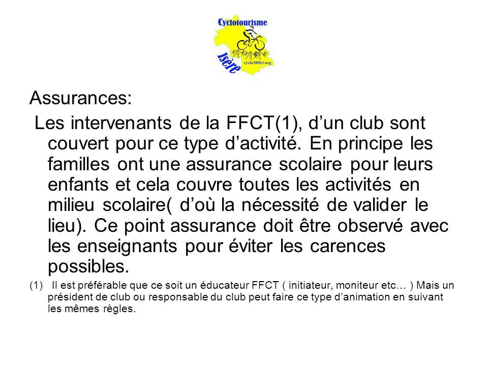 Assurances: Les intervenants de la FFCT(1), d'un club sont couvert pour ce type d'activité. En principe les familles ont une assurance scolaire pour l