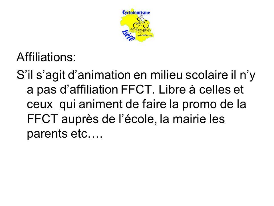 Affiliations: S'il s'agit d'animation en milieu scolaire il n'y a pas d'affiliation FFCT. Libre à celles et ceux qui animent de faire la promo de la F