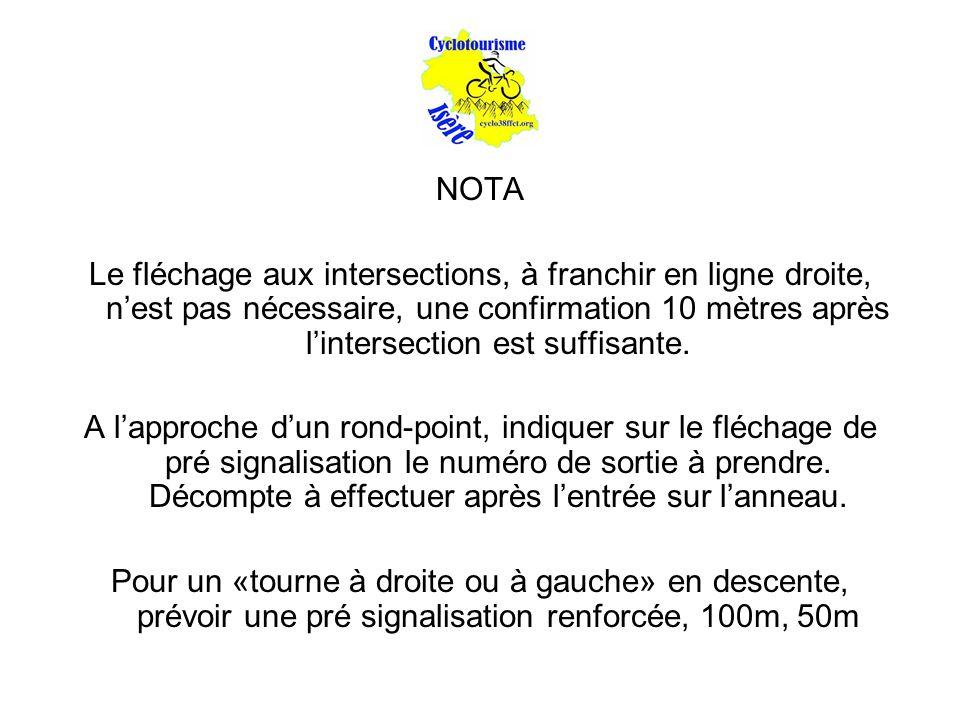 NOTA Le fléchage aux intersections, à franchir en ligne droite, n'est pas nécessaire, une confirmation 10 mètres après l'intersection est suffisante.