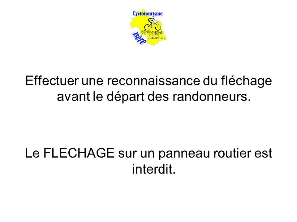 Effectuer une reconnaissance du fléchage avant le départ des randonneurs. Le FLECHAGE sur un panneau routier est interdit.