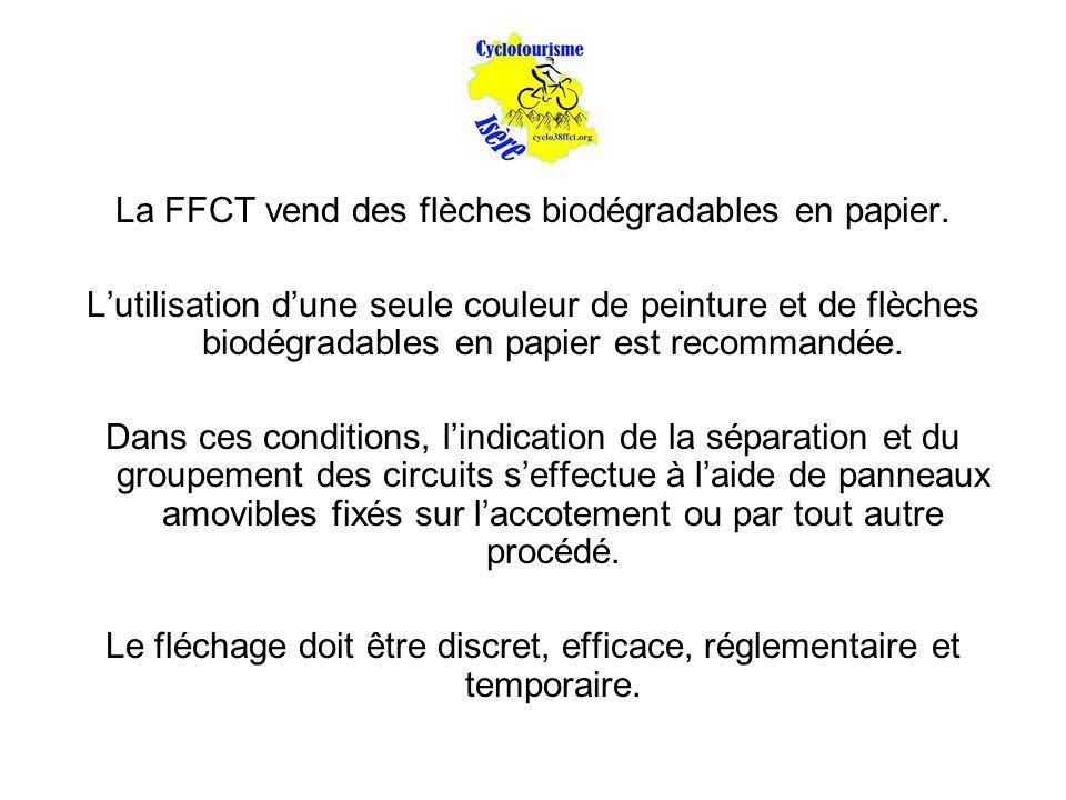 La FFCT vend des flèches biodégradables en papier. L'utilisation d'une seule couleur de peinture et de flèches biodégradables en papier est recommandé