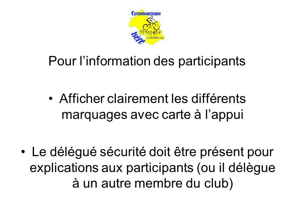 Pour l'information des participants Afficher clairement les différents marquages avec carte à l'appui Le délégué sécurité doit être présent pour explications aux participants (ou il délègue à un autre membre du club)