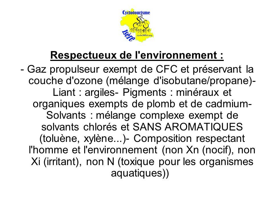 Respectueux de l environnement : - Gaz propulseur exempt de CFC et préservant la couche d ozone (mélange d isobutane/propane)- Liant : argiles- Pigments : minéraux et organiques exempts de plomb et de cadmium- Solvants : mélange complexe exempt de solvants chlorés et SANS AROMATIQUES (toluène, xylène...)- Composition respectant l homme et l environnement (non Xn (nocif), non Xi (irritant), non N (toxique pour les organismes aquatiques))