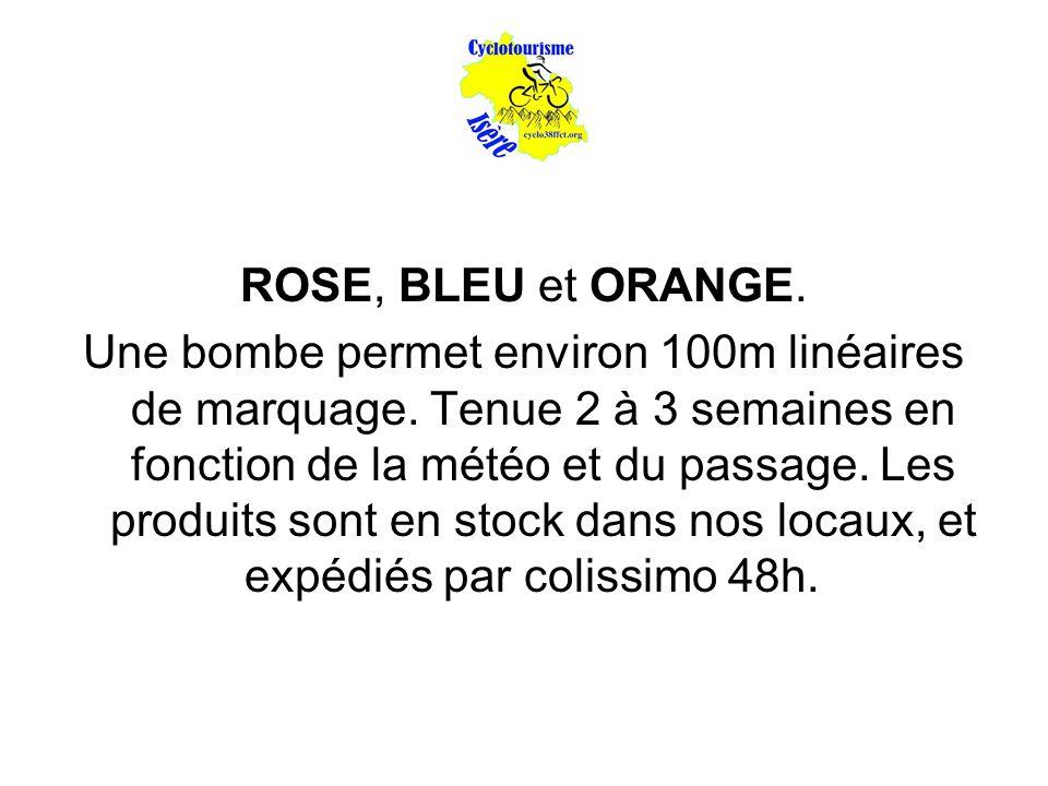 ROSE, BLEU et ORANGE. Une bombe permet environ 100m linéaires de marquage. Tenue 2 à 3 semaines en fonction de la météo et du passage. Les produits so