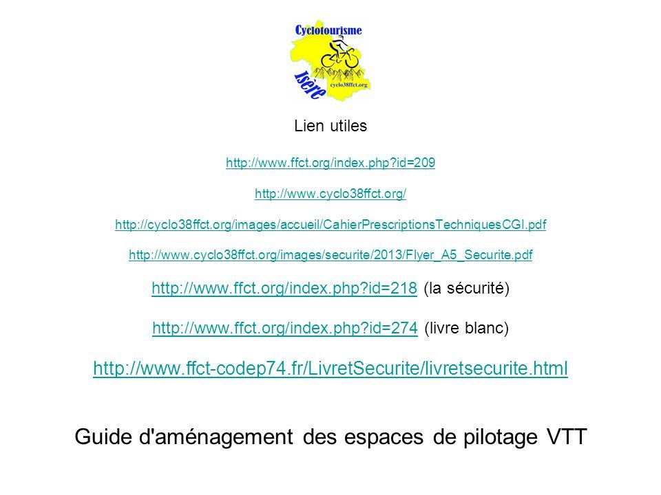 Lien utiles http://www.ffct.org/index.php?id=209 http://www.cyclo38ffct.org/ http://cyclo38ffct.org/images/accueil/CahierPrescriptionsTechniquesCGI.pdf http://www.cyclo38ffct.org/images/securite/2013/Flyer_A5_Securite.pdf http://www.ffct.org/index.php?id=218http://www.ffct.org/index.php?id=218 (la sécurité) http://www.ffct.org/index.php?id=274http://www.ffct.org/index.php?id=274 (livre blanc) http://www.ffct-codep74.fr/LivretSecurite/livretsecurite.html Guide d aménagement des espaces de pilotage VTT