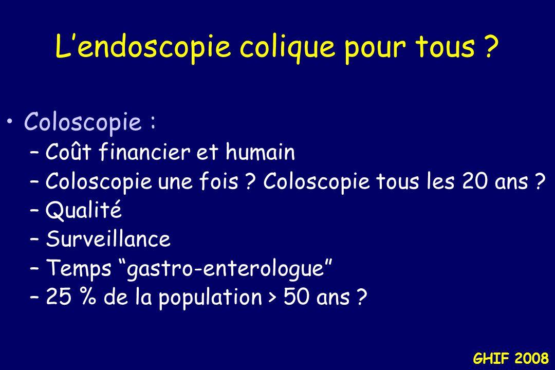 "GHIF 2008 Endoscopie de ""dépistage"" National Colonoscopy StudyVACONCERNLilly SexeH/FHFH/F Adénomes18%37.5%21%11%(distal) ou Cancer Advanced6%11%5%5% N"