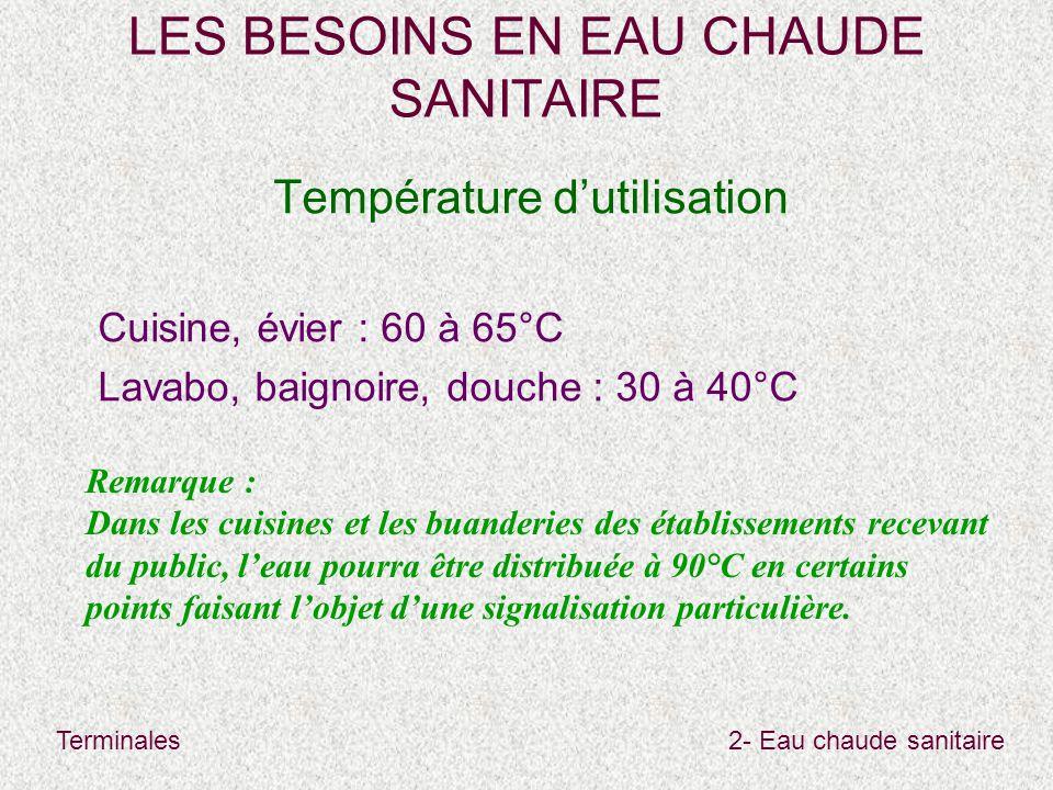 Terminales2- Eau chaude sanitaire LES BESOINS EN EAU CHAUDE SANITAIRE Température d'utilisation Cuisine, évier : 60 à 65°C Lavabo, baignoire, douche :