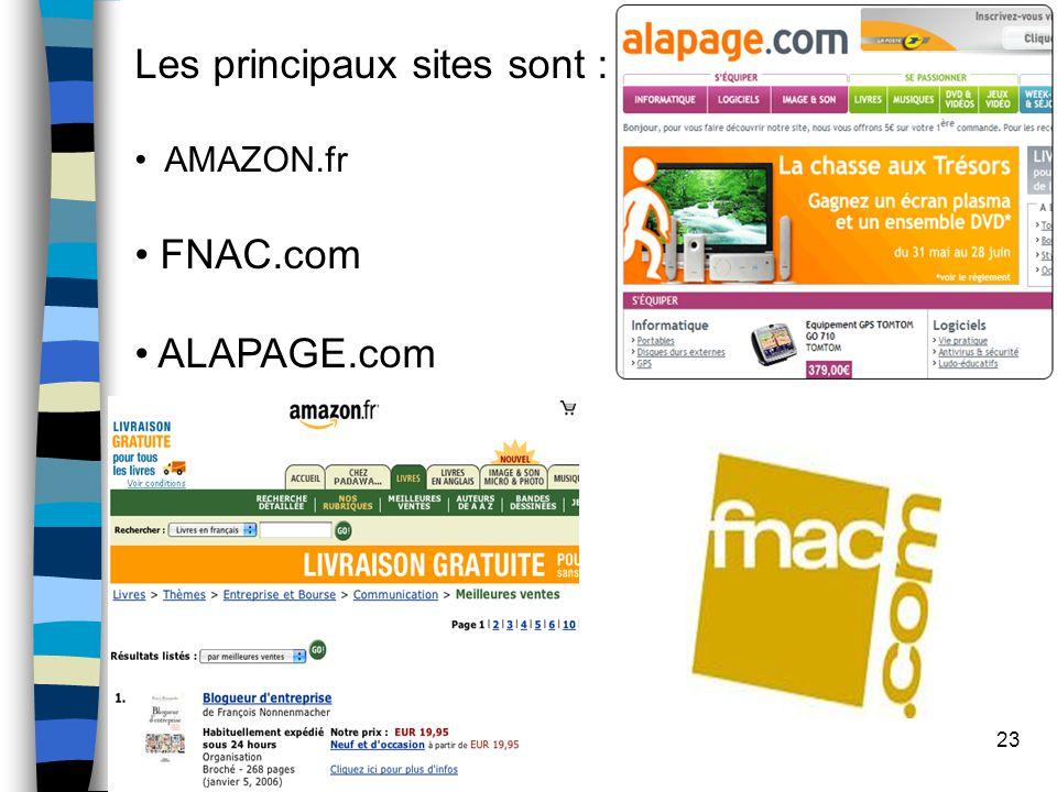 23 Les principaux sites sont : AMAZON.fr FNAC.com ALAPAGE.com