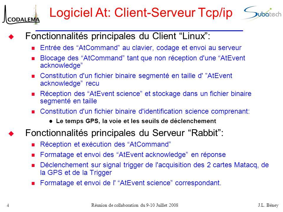 """Réunion de collaboration du 9-10 Juillet 2008 J.L. Béney 4 Logiciel At: Client-Serveur Tcp/ip  Fonctionnalités principales du Client """"Linux"""": Entrée"""