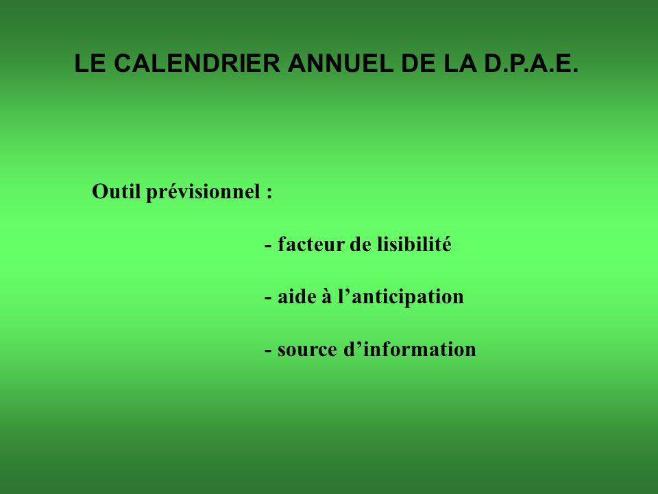 LE CALENDRIER ANNUEL DE LA D.P.A.E.