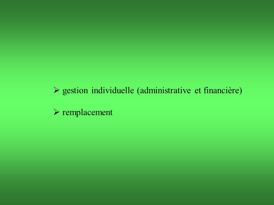  gestion individuelle (administrative et financière)  remplacement
