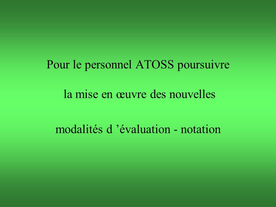 Pour le personnel ATOSS poursuivre la mise en œuvre des nouvelles modalités d 'évaluation - notation