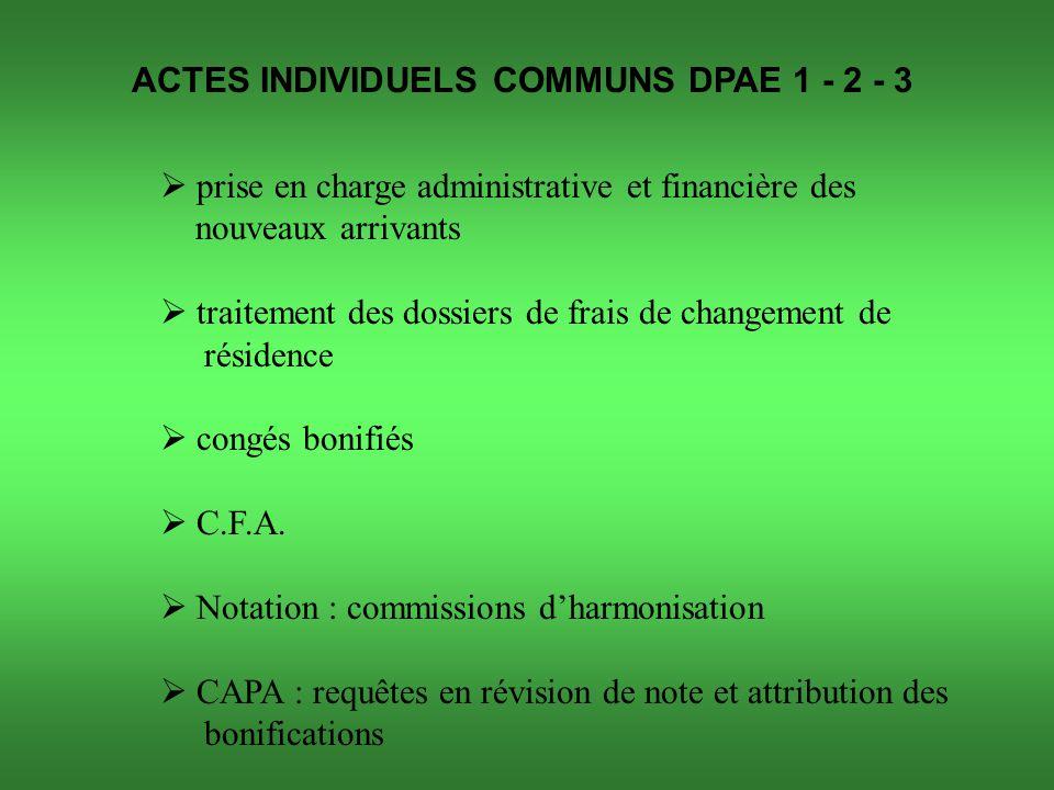ACTES INDIVIDUELS COMMUNS DPAE 1 - 2 - 3  prise en charge administrative et financière des nouveaux arrivants  traitement des dossiers de frais de changement de résidence  congés bonifiés  C.F.A.