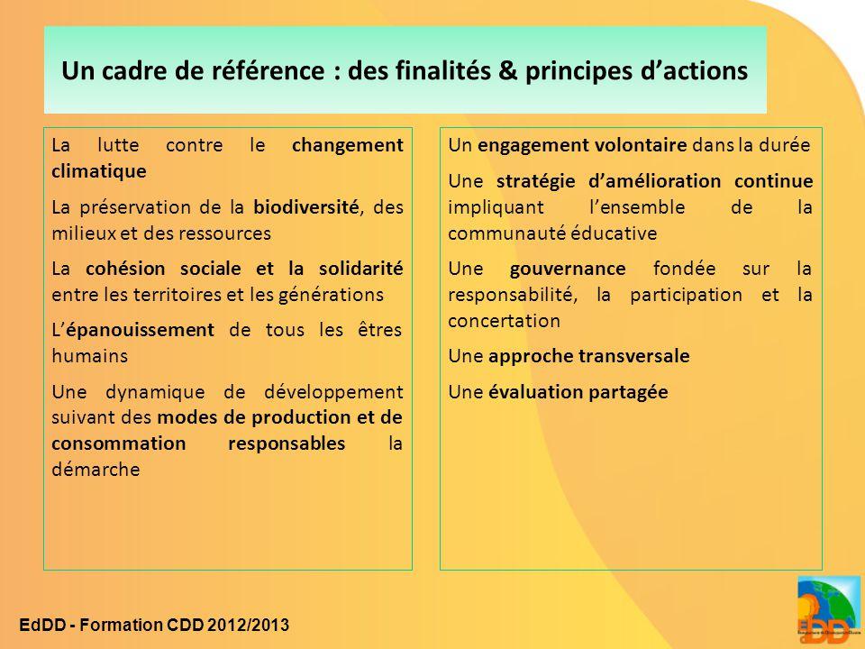Un cadre de référence : des finalités & principes d'actions La lutte contre le changement climatique La préservation de la biodiversité, des milieux e