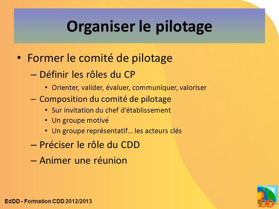 Organiser le pilotage Former le comité de pilotage – Définir les rôles du CP Orienter, valider, évaluer, communiquer, valoriser – Composition du comit