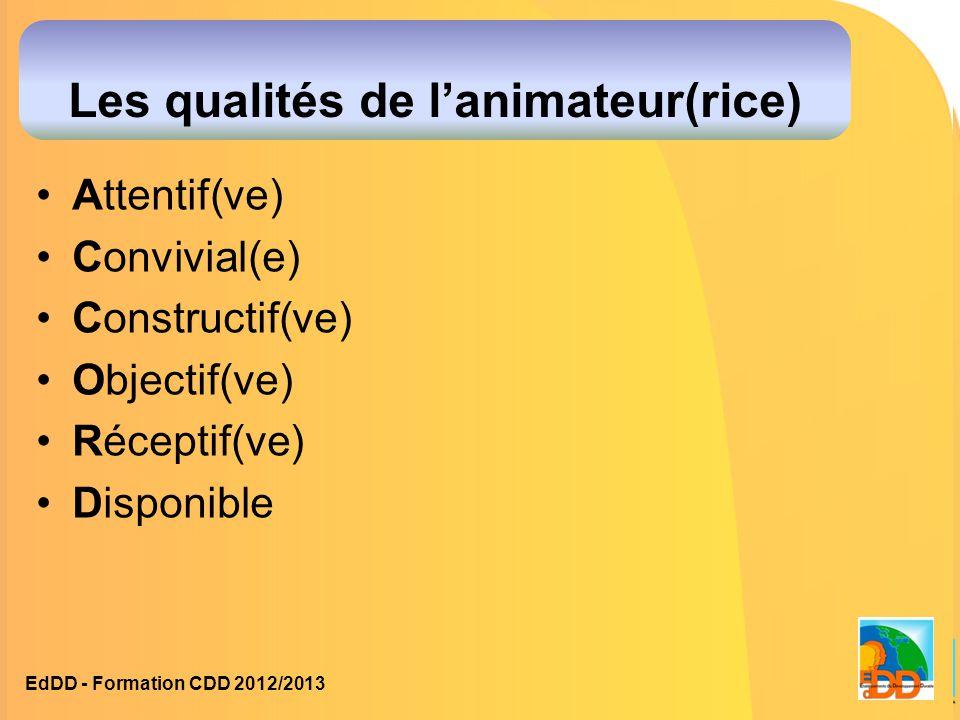 Les qualités de l'animateur(rice) Attentif(ve) Convivial(e) Constructif(ve) Objectif(ve) Réceptif(ve) Disponible EdDD - Formation CDD 2012/2013