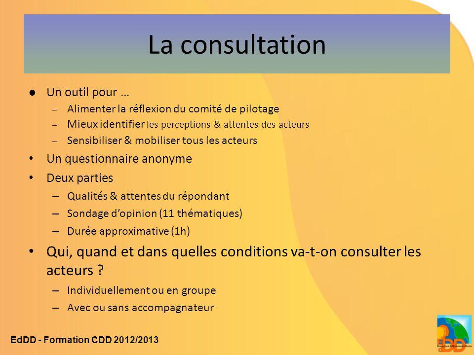 La consultation Un outil pour … – Alimenter la réflexion du comité de pilotage – Mieux identifier les perceptions & attentes des acteurs – Sensibilise