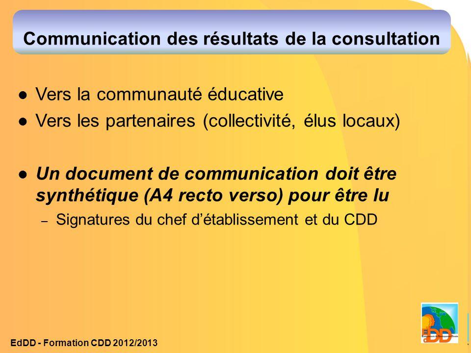 Communication des résultats de la consultation Vers la communauté éducative Vers les partenaires (collectivité, élus locaux) Un document de communicat