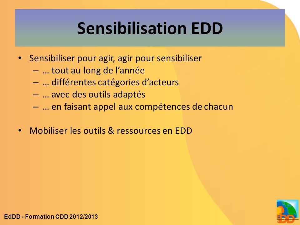 Sensibilisation EDD Sensibiliser pour agir, agir pour sensibiliser – … tout au long de l'année – … différentes catégories d'acteurs – … avec des outil