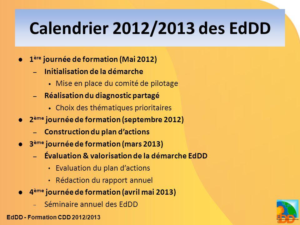 Calendrier 2012/2013 des EdDD 1 ère journée de formation (Mai 2012) – Initialisation de la démarche Mise en place du comité de pilotage – Réalisation
