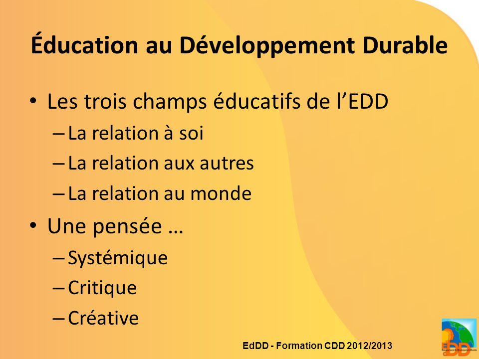 Éducation au Développement Durable Les trois champs éducatifs de l'EDD – La relation à soi – La relation aux autres – La relation au monde Une pensée