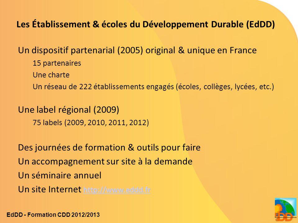 Les Établissement & écoles du Développement Durable (EdDD) Un dispositif partenarial (2005) original & unique en France 15 partenaires Une charte Un r