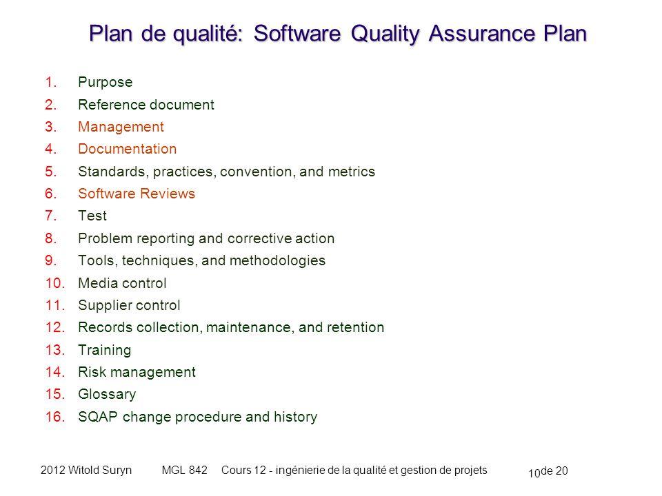 10 de 20 Cours 12 - ingénierie de la qualité et gestion de projetsMGL 8422012 Witold Suryn Plan de qualité: Software Quality Assurance Plan 1.