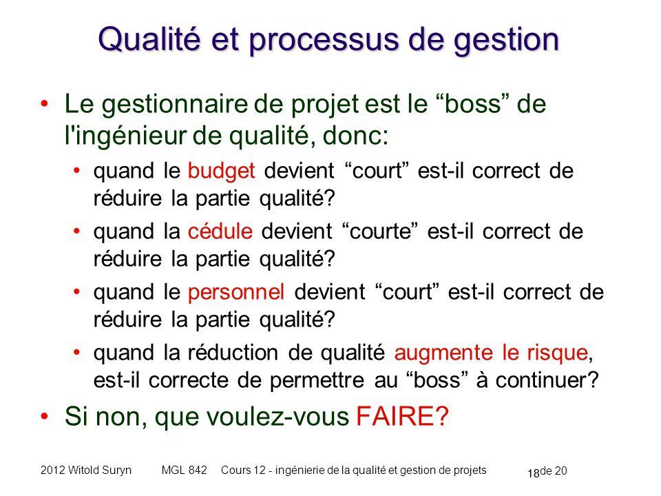 18 de 20 Cours 12 - ingénierie de la qualité et gestion de projetsMGL 8422012 Witold Suryn Qualité et processus de gestion Le gestionnaire de projet est le boss de l ingénieur de qualité, donc: quand le budget devient court est-il correct de réduire la partie qualité.
