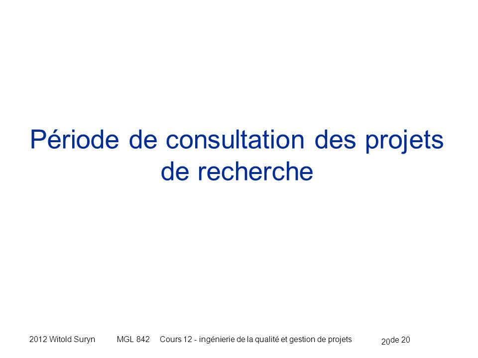 20 de 20 Cours 12 - ingénierie de la qualité et gestion de projetsMGL 8422012 Witold Suryn Période de consultation des projets de recherche