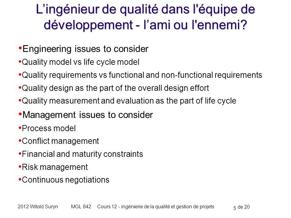 5 de 20 Cours 12 - ingénierie de la qualité et gestion de projetsMGL 8422012 Witold Suryn L'ingénieur de qualité dans l équipe de développement - l'ami ou l ennemi.