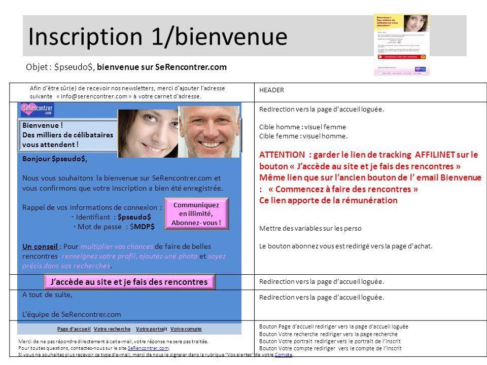Inscription 1/bienvenue Bonjour $pseudo$, Nous vous souhaitons la bienvenue sur SeRencontrer.com et vous confirmons que votre inscription a bien été e