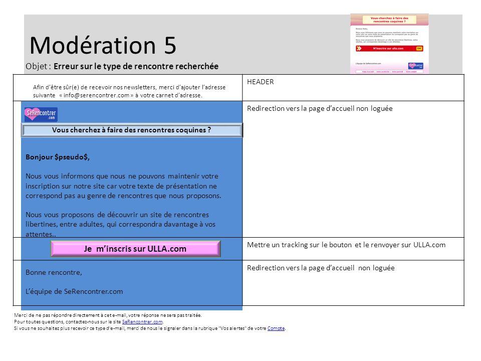 Modération 5 Bonjour $pseudo$, Nous vous informons que nous ne pouvons maintenir votre inscription sur notre site car votre texte de présentation ne c
