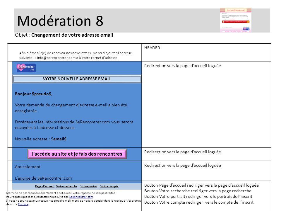 Modération 8 Bonjour $pseudo$, Votre demande de changement d'adresse e-mail a bien été enregistrée. Dorénavant les informations de SeRencontrer.com vo