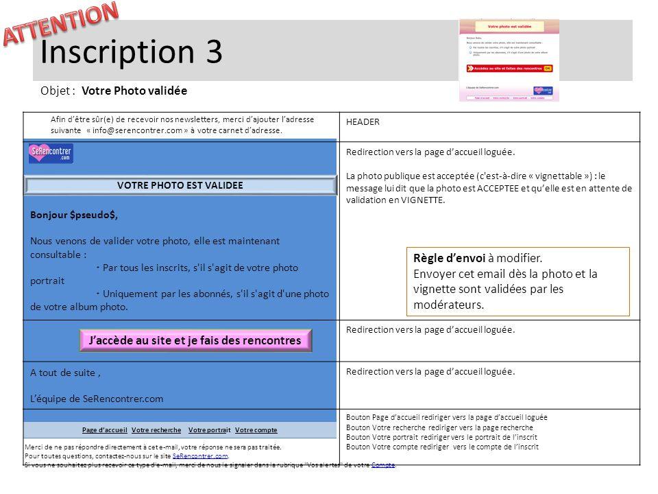 Inscription 3 Bonjour $pseudo$, Nous venons de valider votre photo, elle est maintenant consultable :  Par tous les inscrits, s'il s'agit de votre ph