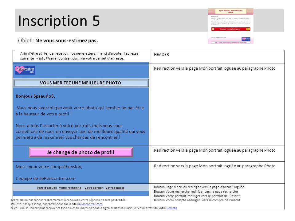 Inscription 6 Bonjour $pseudo$, Nous vous informons que la photo que vous nous avez envoyée n a pas pu être validée car elle ne respecte pas les conditions de notre site.