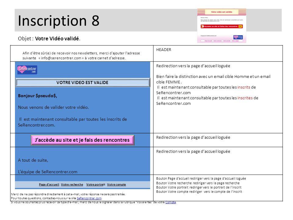 Inscription 8 Bonjour $pseudo$, Nous venons de valider votre vidéo. Il est maintenant consultable par toutes les inscrits de SeRencontrer.com. A tout