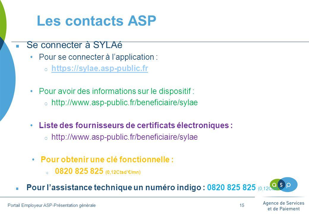 Les contacts ASP n Se connecter à SYLAé Pour se connecter à l'application :  https://sylae.asp-public.fr https://sylae.asp-public.fr Pour avoir des informations sur le dispositif :  http://www.asp-public.fr/beneficiaire/sylae Liste des fournisseurs de certificats électroniques :  http://www.asp-public.fr/beneficiaire/sylae Pour obtenir une clé fonctionnelle : o 0820 825 825 (0,12Ctsd'€/mn) n Pour l'assistance technique un numéro indigo : 0820 825 825 (0,12Cts€/mn) Portail Employeur ASP-Présentation générale15