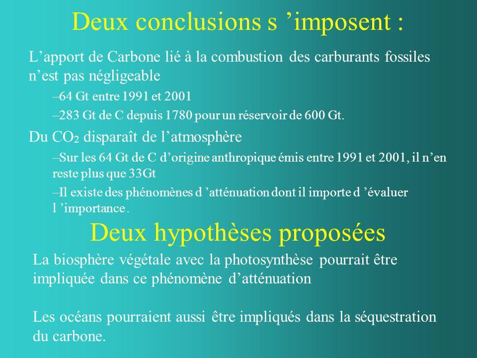 Deux conclusions s 'imposent : L'apport de Carbone lié à la combustion des carburants fossiles n'est pas négligeable –64 Gt entre 1991 et 2001 –283 Gt