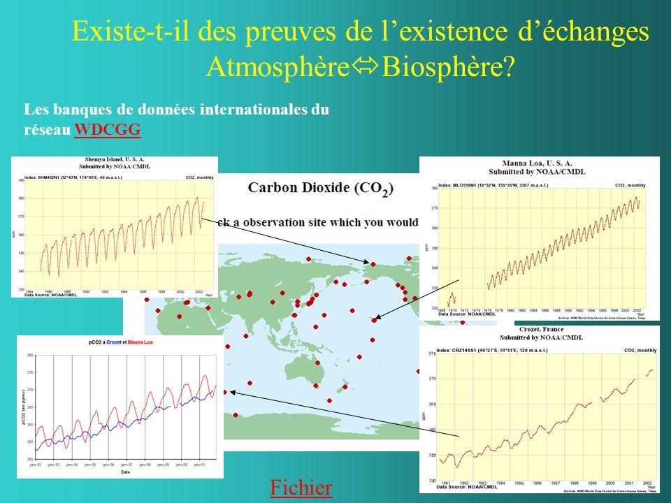 Existe-t-il des preuves de l'existence d'échanges Atmosphère  Biosphère? Les banques de données internationales du réseau WDCGGWDCGG Fichier