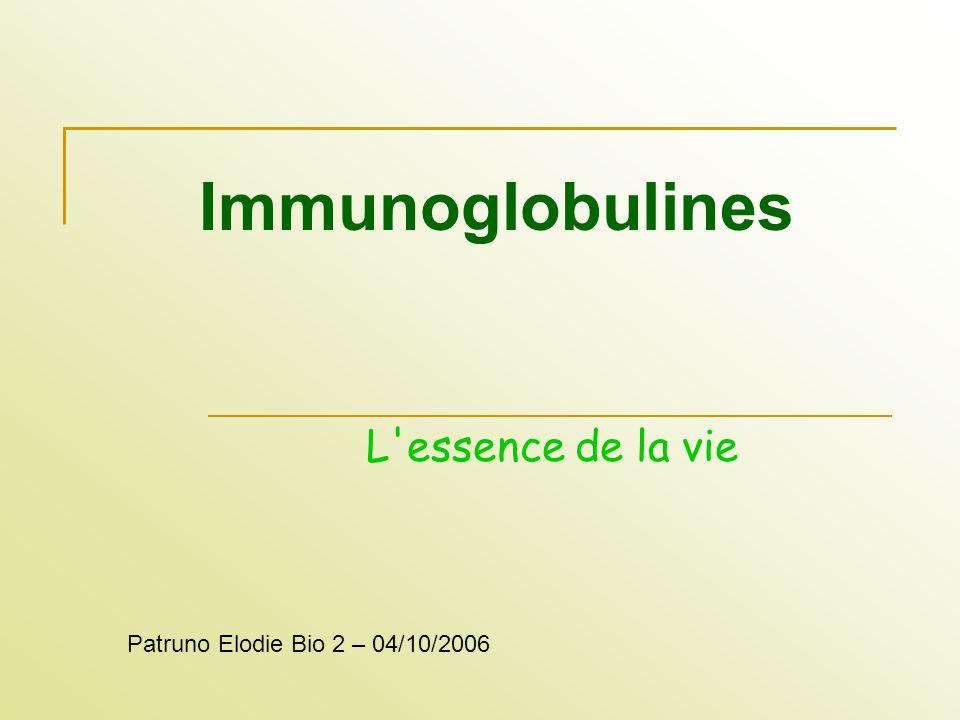 Immunoglobulines L'essence de la vie Patruno Elodie Bio 2 – 04/10/2006